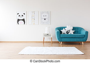 Aquamarine sofa in kid's room