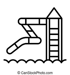 aquapark, ícone, escorregar, estilo, esboço