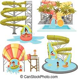 aquapark, セット, カラフルである