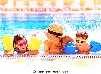 aquapark, 가족, 행복하다