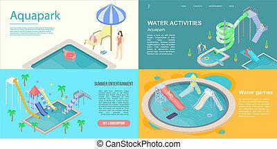 Aquapark banner set, isometric style