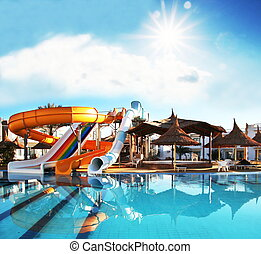 Aquapark - Colorful aquapark constructions in swimming-pool