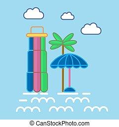 Aquapark colorful equipments in graphic design vector poster