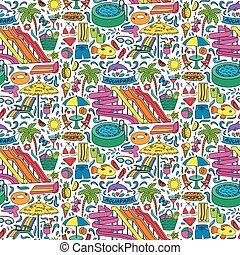 Aquapark doodle seamless pattern