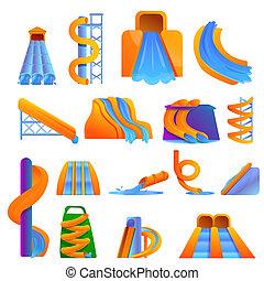 aquapark, jogo, estilo, caricatura, ícones