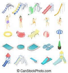 aquapark, jogo, isometric, estilo, ícones
