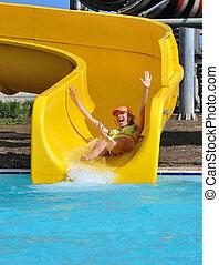 aquapark, leány