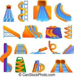 aquapark, sätta, stil, tecknad film, ikonen