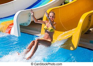 aquapark, salto, escorregar, água, criança
