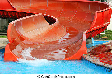 Aquapark slide, outdoor summer activities