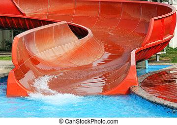 Aquapark slide, outdoor summer activities