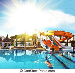 Aquapark - Colorful aquapark constructions in swimming-pool