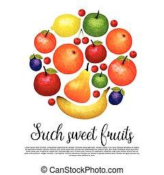 Aquarel Sweet Fruit Round Design - Aquarel sweet fruit round...