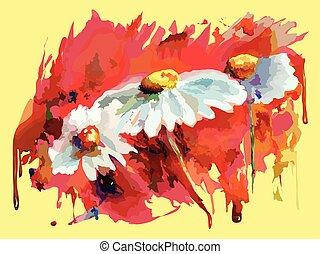 Aquarel Water color flowers on color background - Aquarel...