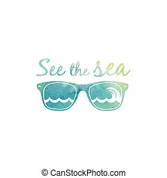 aquarela, óculos de sol, sea., observar