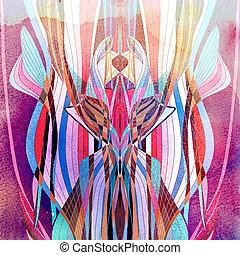 aquarela, abstratos, ondulado, fundo