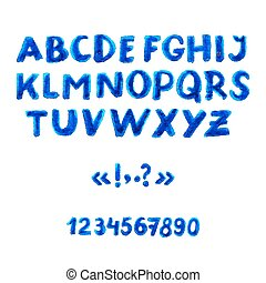 aquarela, alfabeto, symbols., números, manuscrito