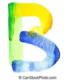 aquarela, alfabeto, vívido