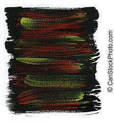 aquarela, amarela, preto vermelho, fundo