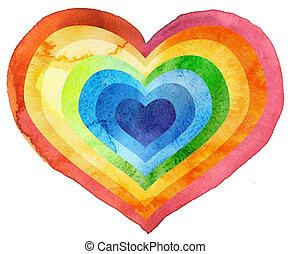 aquarela, arco íris, textured, coração