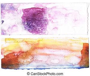 aquarela, arte, abstratos, pintado, myself., roxo, criado, ...