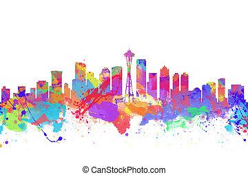 aquarela, arte, impressão, de, a, skyline, de, seattle,...