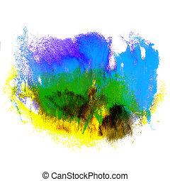 aquarela, azul, cor, abstratos, isolado, textura, água, pintura, apoplexia, amarela, verde, watercolour, tinta, splatters, quadro, escova vermelha