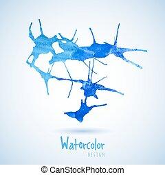 aquarela, azul, elemento, desenho, água