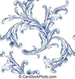 aquarela, azul, vetorial, pattern., textura