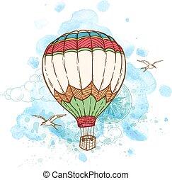 aquarela, balloon, blots, ar