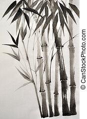 aquarela, bambu, quadro
