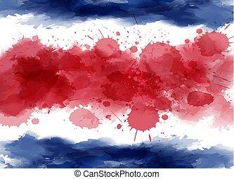 aquarela, bandeira, de, costa rica