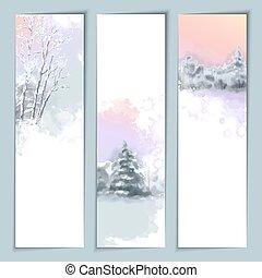 aquarela, bandeiras, vetorial, inverno