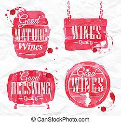 aquarela, barril, vinho