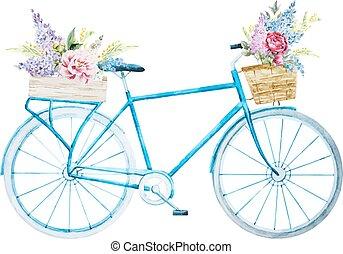 aquarela, bicicleta, bicicleta