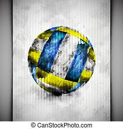 aquarela, bola, voleibol