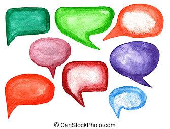 aquarela, bolhas, fala