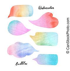 aquarela, bolhas, fala, coloridos