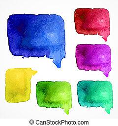 aquarela, bolhas, vetorial, fala