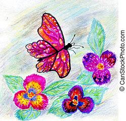 aquarela, borboleta, desenho