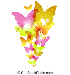 aquarela, borboletas, desenho