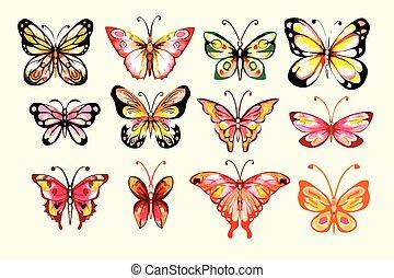 aquarela, borboletas, jogo