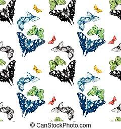 aquarela, borboletas, pattern., seamless