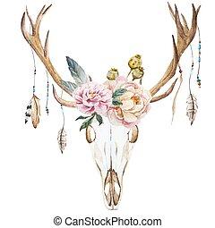 aquarela, cabeça, wildflowers, veado