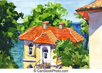 aquarela, casa, paisagem