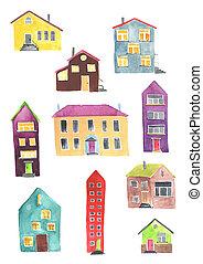 aquarela, casas, diferente, jogo