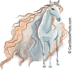 aquarela, cavalo, quadro