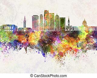 aquarela, cidade, oklahoma, skyline