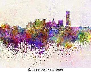 aquarela, cidade, oklahoma, skyline, fundo
