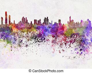 aquarela, cidade, panamá, skyline, fundo